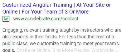Google text ad example