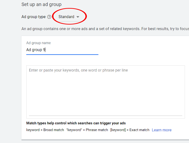 Set up a Google ad group