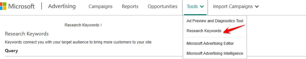 Microsoft Keyword Research