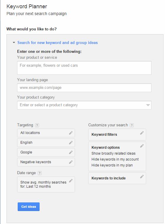 Keyword Planner form