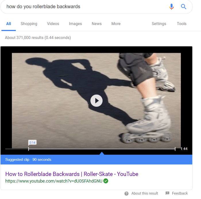YouTube Rollerblade Search