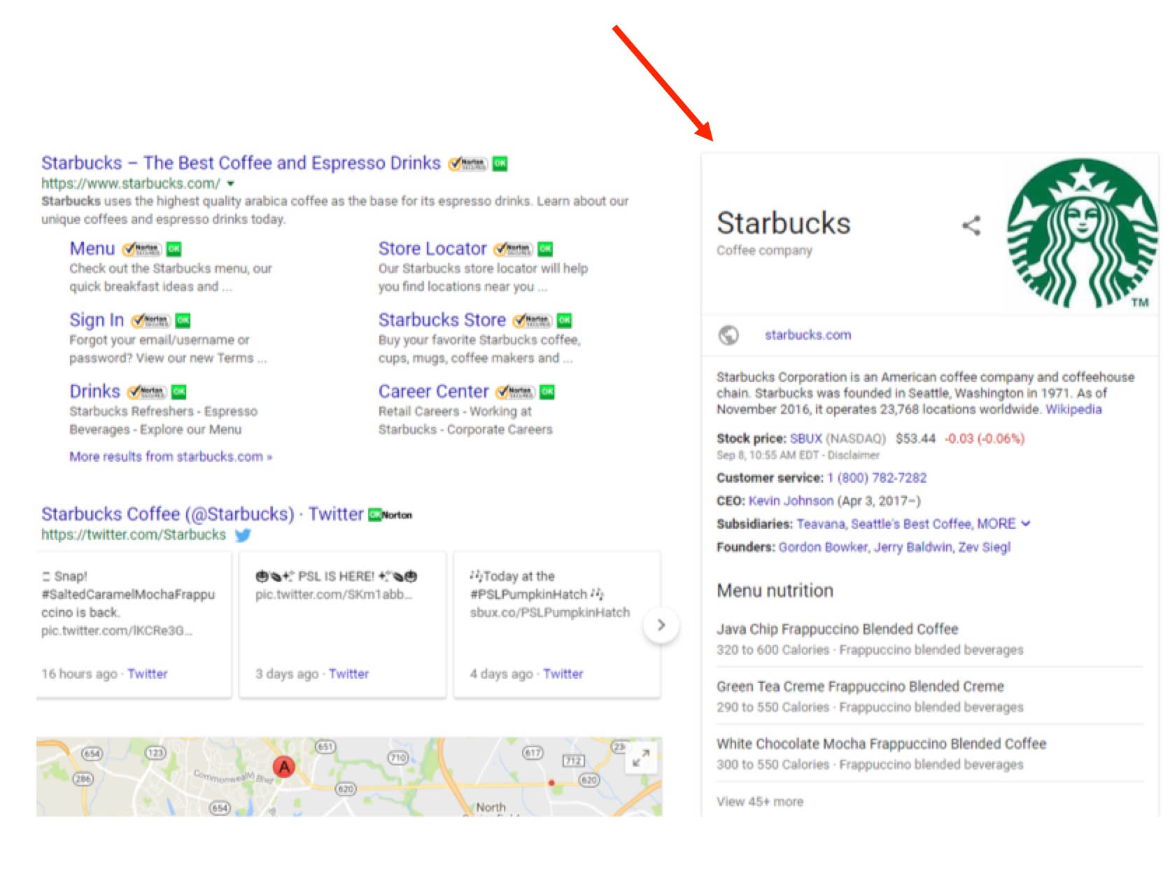 Starbucks Knowledge Graph Panel
