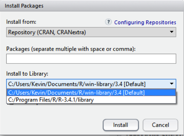 How to Change the Default Library in Rstudio to a Different