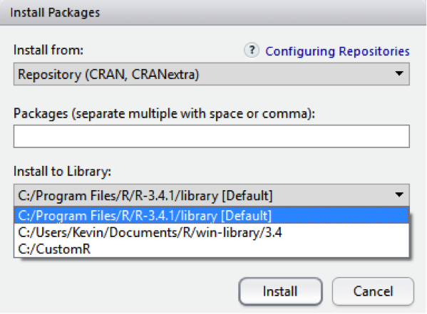 How to Change the Default Library in Rstudio to a Different Default