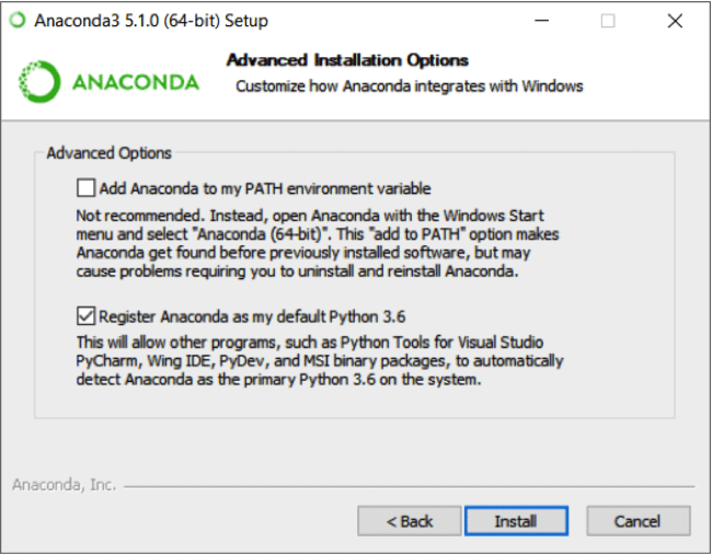 Advanced Anaconda installation options screen