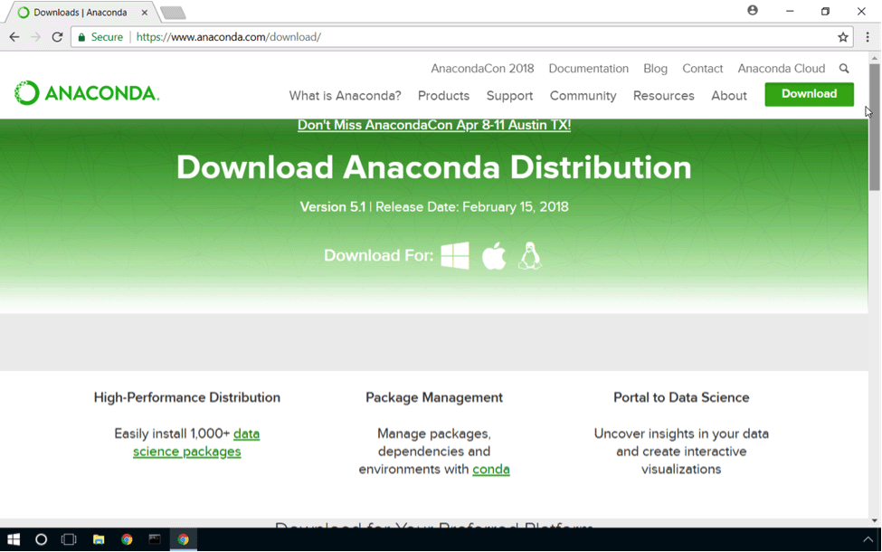 Anaconda download webpage
