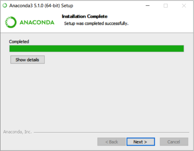 Anaconda installation complete screen