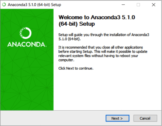 Anaconda Setup Welcome screen