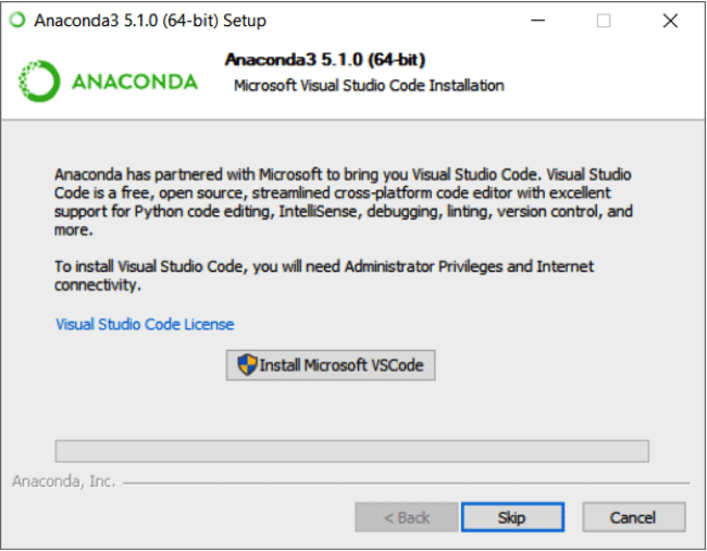 Anaconda MS Visual Studio code installation screen