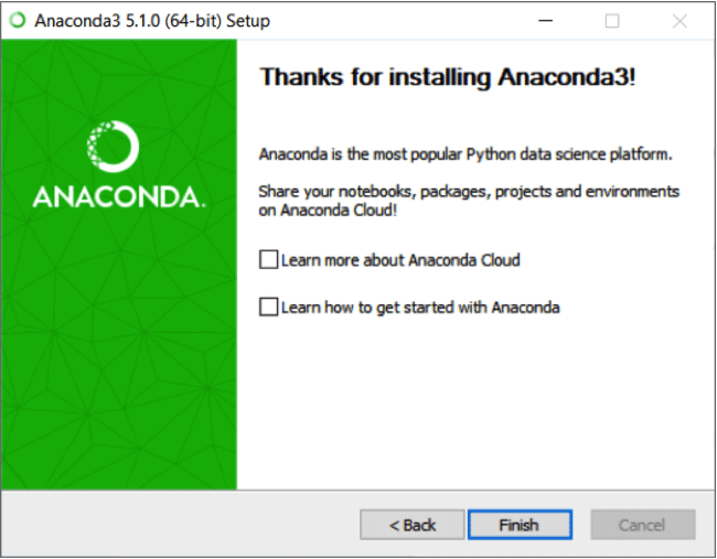 Thank you for installing Anaconda screen