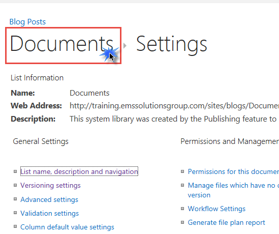 Use Documents Breadcrumb to return to Library