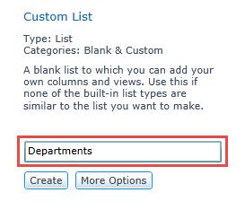 Create Custom List