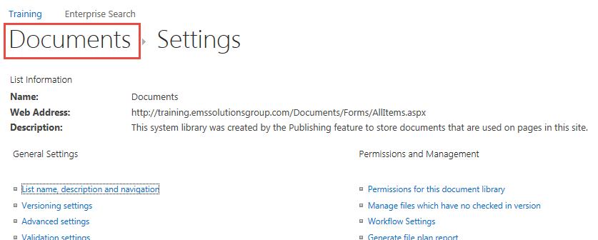 Documents Settings