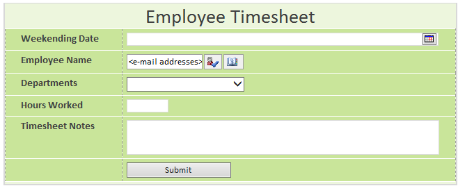 At This Point You Should Have A Timesheet Form That Looks Similar To The Picture Below Now It S Time Add Some Rules Validate And Format Hours