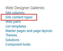 Site Content Type menu