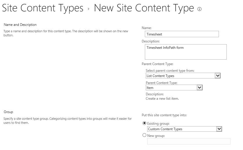 New Site Content Type Properties