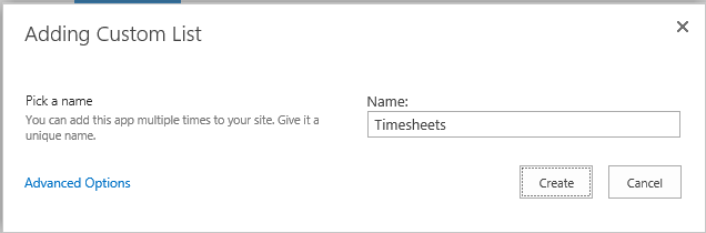 Adding Custom List > Timesheets