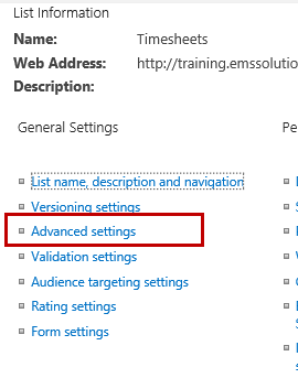 Advanced List Settings