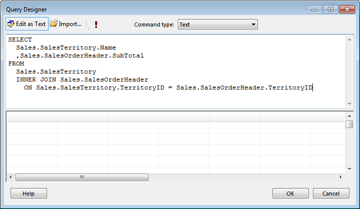 Figure 17: Command Area of the Query Designer