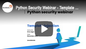 Python Security Webinar - Template Injection