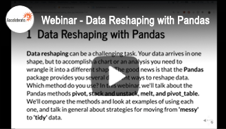 Webinar - Data Reshaping with Pandas in Python